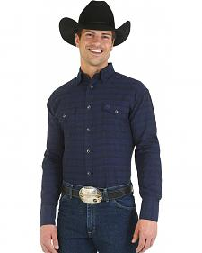 Wrangler George Strait Troubadour Blue and Black Paisley Shirt