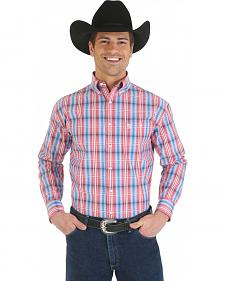 Wrangler George Strait Collection Red, Blue, and White and Plaid Shirt