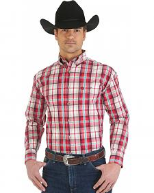Wrangler George Strait Collection Red, Khaki, and White and Plaid Shirt
