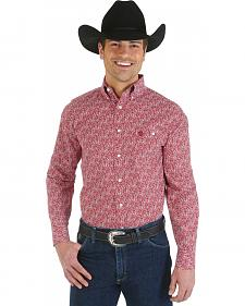Wrangler George Strait Red Paisley Long Sleeve Shirt