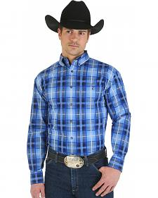 Wrangler George Strait Blue and Light Blue Plaid Long Sleeve Shirt