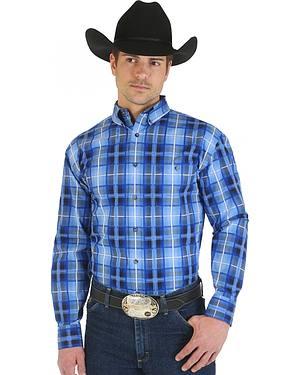 Wrangler George Strait Blue and Light Blue Plaid Long Sleeve Shirt
