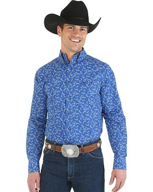 Wrangler George Strait Collection Blue Paisley Poplin Western Shirt