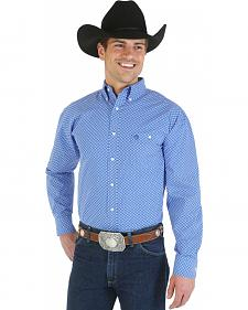 Wrangler George Strait Collection Blue Print Poplin Western Shirt