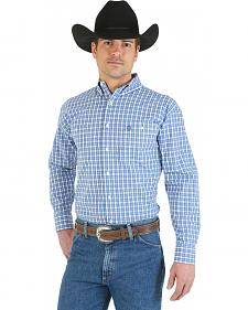 Wrangler George Strait Collection Blue and White Plaid Long Sleeve Shirt