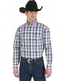 Wrangler George Strait Collection Purple and Green Plaid Long Sleeve Shirt