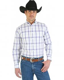Wrangler George Strait Collection Purple and White Plaid Western Shirt