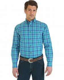 Wrangler Men's Advanced Comfort Blue, Black, & Khaki Plaid Sport Shirt