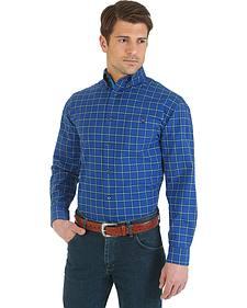 Wrangler Men's Advanced Comfort Blue & Black Plaid Sport Shirt