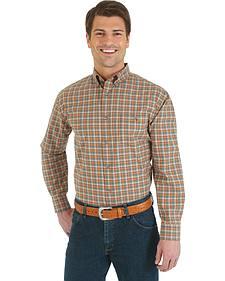 Wrangler Men's Advanced Comfort Khaki & Orange Plaid Sport Shirt