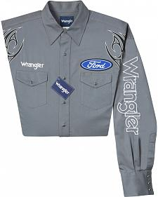 Wrangler Ford Embroidered Charcoal Long Sleeve Shirt