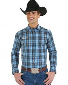 Wrangler Blue and Tan Plaid Logo Long Sleeve Shirt