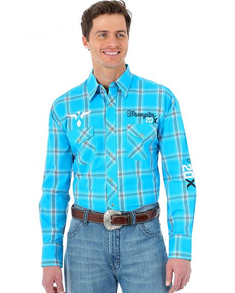 Wrangler Turquoise Plaid 20X Logo Long Sleeve Shirt