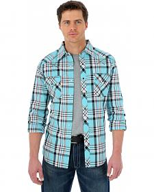 Wrangler 20X Light Teal and Red Plaid Western Shirt
