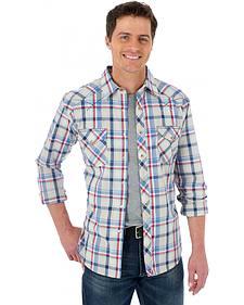 Wrangler 20X Red, Khaki, and Blue Plaid Western Shirt