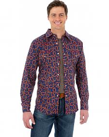 Wrangler 20X Navy Blue and Red Paisley Western Shirt