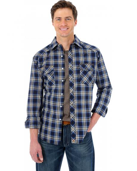 Wrangler 20X Navy and Brown Plaid Western Shirt