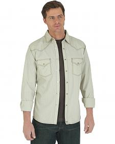 Wrangler 20X Men's Khaki Dobby Long Sleeve Snap Shirt