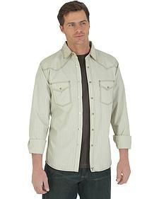 Wrangler 20X Men's Khaki Dobby Long Sleeve Snap Shirt