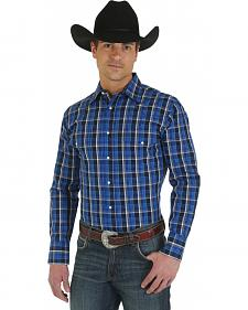 Wrangler Wrinkle Resist Navy Blue Plaid Western Shirt