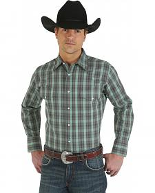 Wrangler Wrinkle Resist Green Plaid Shirt