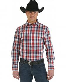 Wrangler Red Plaid Wrinkle Resist Western Shirt