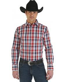 Wrangler Red Plaid Wrinkle Resist Western Shirt