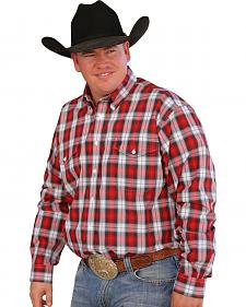 Cinch Men's Red & White Plaid Button Long Sleeve Shirt