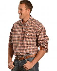 Cinch Men's Navy Plaid Button Long Sleeve Shirt