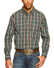Ariat Alec Brown and Green Plaid Long Sleeve Shirt