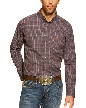 Ariat Fitted Bryant Charcoal and Red Plaid Western Shirt