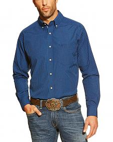 Ariat Fitted Dakota Blue and Black Plaid Western Shirt