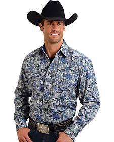 Stetson Men's Blue Floral Paisley Western Shirt
