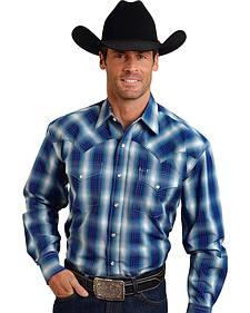Stetson Men's Blue Plaid Print Western Shirt