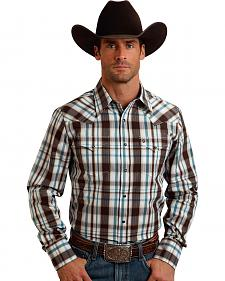 Stetson Men's Original Rugged Brown Plaid Print Western Shirt