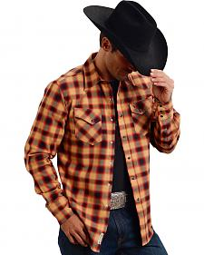 Stetson Men's Original Rugged Orange Plaid Print Western Shirt