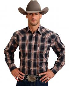 Stetson Men's Rugged Gray Plaid Print Western Shirt