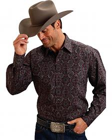 Stetson Wine Paisley Deep Back Yoke Western Shirt