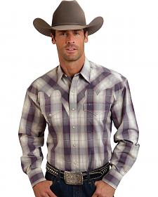 Stetson Men's Purple Plaid Print Western Shirt
