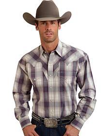 Stetson Men's Purple Plaid Print Western Shirt