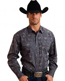 Stetson Men's Gray Paisley Western Shirt