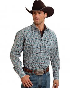 Stetson Men's Blue & Brown Print Western Shirt