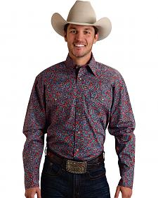 Roper Men's Amarillo Collection Navy & Red Paisley Snap Long Sleeve Shirt