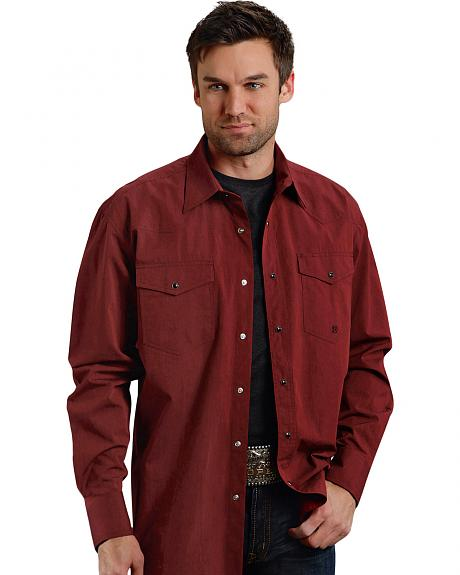 Roper Men's Amarillo Collection Maroon Snap Long Sleeve Shirt