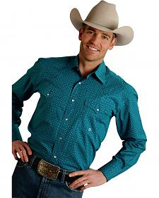 Roper Men's Amarillo Collection Turquoise Print Snap Long Sleeve Shirt