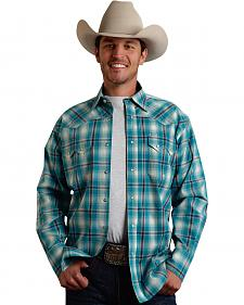 Roper Men's Amarillo Collection Turquoise Plaid Snap Long Sleeve Shirt