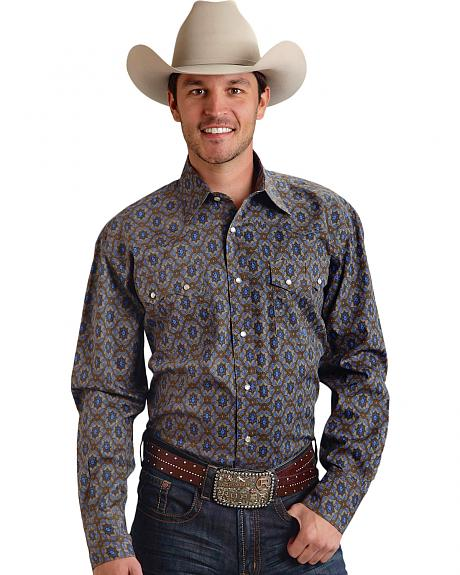 Roper Men's Amarillo Collection Brown & Navy Medallion Snap Long Sleeve Shirt