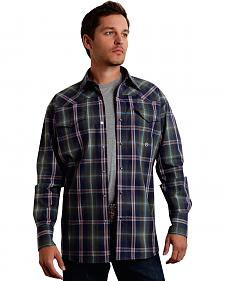 Roper Men's Amarillo Collection Green Plaid Snap Long Sleeve Shirt