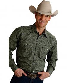 Roper Men's Amarillo Collection Green Print Snap Long Sleeve Shirt
