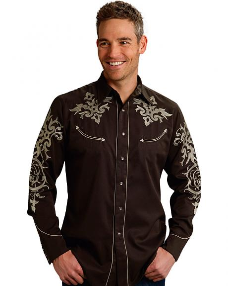 Roper Old West Collection Brown Embroidered Long Sleeve Western Shirt